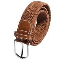 Unisexe Hommes Femmes stretch en cuir tresse elastique boucle de ceinture c W1B3