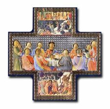 "Last Supper Cross Shaped Picture Hanging Icon Style 6"" x 6"" Jesus & Disciples"