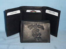 USC TROJANS (Southern California)   Leather TriFold Wallet    NEW    black 3  m1