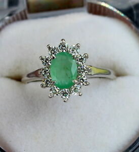 PRONG 100% NATURAL EMERALD CZ 925 STERLING SILVER RING JEWELRY SIZE US 3 TO 13