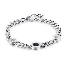 Edelstahl Damen Armband Panzerarmband Steel Armkette Cubic Zirkonia Silber LOVE