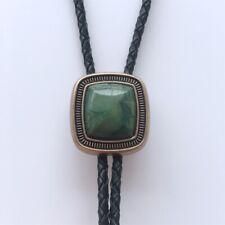 Original Antique Gold Plated Handcraft Nature ZA Greenstone Bolo Tie Necklace