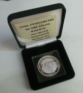 1998 ORIENT EXPRESS ANV OF THE STEAM RAILWAY ISLE OF MAN CROWN Silver Proof Coin
