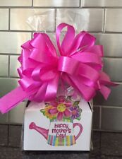 Mother's Day Candy Gift Box-Basket Wrapped With Pink Bow & Card