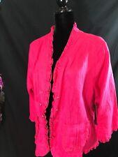 NWT Multiples  Linen  Jacket Blouse Women's 2X Pink 3/4 Sleeves Ruffles