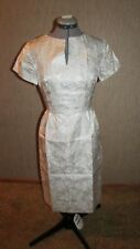 "Elegant 1963-Vintage Cocktail Dress w/Silver Metallic Embroidery 34""Bx27""Wx36""H"