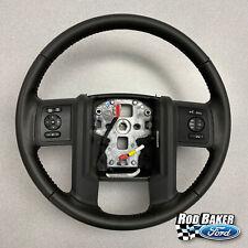 13 thru 16 Super Duty F250 F350 OEM Ford Black Leather Steering Wheel w/ Cruise