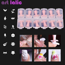 12Pcs 3D Acrylic Nail Tips Mold Stamps Templates Flower Butterfly Nail Art Tools