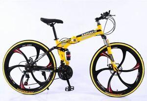 "ADULT BIKE 21 SPEED 26"" MTB CARBON STEEL FOLDING FRAME FULL SUSPENSION BICYCLE"