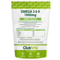 Omega 3 6 9 Fish Oil | High Strength | 1000mg | 90 Capsules | Club Vits