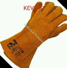 12 KEVLAR STITCHED GLOVES HIGH TEMP STOVE LONG LINED WELDERS GAUNTLETS LOG FIRE