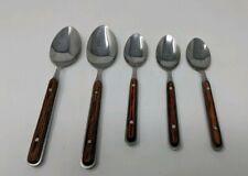 """Sabatier Laguiole Dubost Wood Handle 5 Spoons 6.5"""" 7.5"""" VTG RARE"""