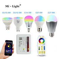 Milight RGB CCT bulb light Wifi E27 E14 GU10 RGBW Dimmable AC 220V LED spot lamp