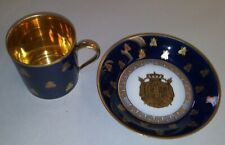 1804-1809 Sevres Cobalt and Gold Bee Tea cup and saucer