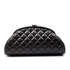 CHANEL Timeless Clutch Black Quilted Leather Silver CC Hardware