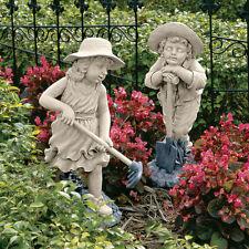 Young Gardener Children Boy & Girl Garden Sculpture Patio Statue