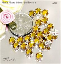25 Swarovski ss20 Topaz Vintage Rose Montees Sew On Crystal prong 20ss Gold