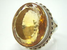 11/V1/2  13.08CT VINTAGE NATURAL HUGE CITRINE 925 STERLING SILVER MENS RING