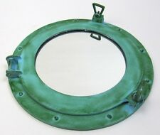 "15"" NAUTICAL ALUMINUM GREEN FINISH ROUND PORTHOLE WITH MIRROR"