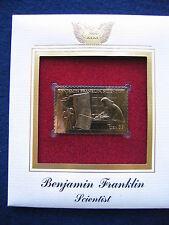 2006 Benjamin Franklin Scientist FDC FDI Replica 22kt Gold Golden Cover Stamp