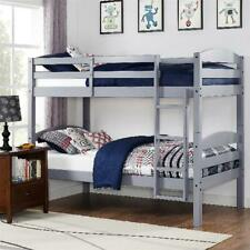 Twin Over Twin Bunk Beds for Kids Girls Boys Convertible Wood w Ladder
