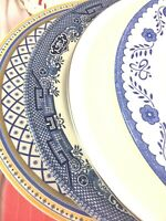 4 Vintage Mismatched China Dinner Plates Blue White Yellow  Farmhouse # 201
