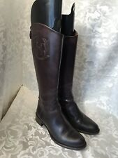 HUNTER WOMEN'S BROWN LEATHER BACK ZIP TALL RIDING BOOTS ITALY 37 US 6.5-7M