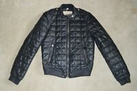 Burberry Boblington Black Quilted Leather Bomber Zip Biker Jacket Coat UK 6 US 4
