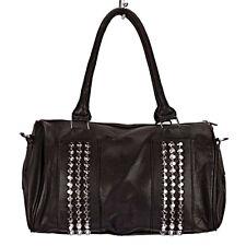 Top modische Damen Tasche, Handtasche, Schultertasche mit Nieten, Schwarz 3