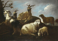 Oil painting nice animals Long-haired goats under trees in dusk Hand painted