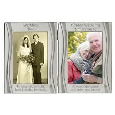Golden 50th Wedding Anniversary Double Photo Frame 4 x 6 inch