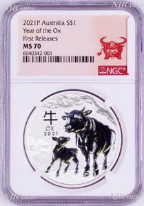 2021 Australia .9999 Bullion Silver Lunar Year of the OX NGC MS70 1oz $1 Coin