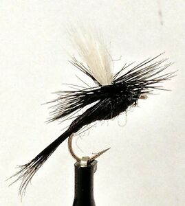 3 Parachute BLACK GNAT Dry Flies Terrestrial Trout Fly Fishing Size 10,12,14,16