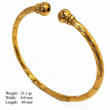 Bangle Bracelet 18K Yellow Gold G/F Solid Cuff Bead Celtic Unisex Design