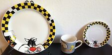 "Lot 3 Sylvester Cat Tweety 10&6""Plates& Mug Looney Tunes Gibson 1998 Set Ceramic"