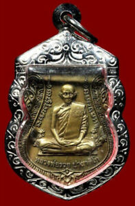 Phra LP Ruay Coin Wat Tako Temple Stainless Case Pendant Thai Buddha Amulet