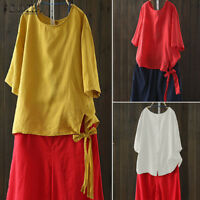 UK Women Ladies Cotton Tunic Tops Back Buttons Casual Loose Shirt T-Shirt Blouse