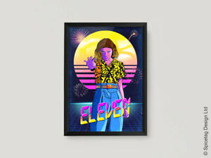 Eleven A3 A4 Poster Print 80s Retro Starcourt Mall Inspired 80's 11 El Wall Art
