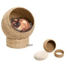 Wicker Raised Cat Den Bed Round Hand-woven Natural Robust Cushion Stable Durable