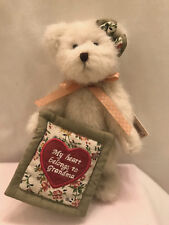 "Boyds White Bear Grammy Heart Quilt Stuffed Plush Jointed Retired 9"" Rare"