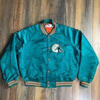 Vintage 80's Chalk Line NFL Miami Dolphins Satin Bomber Jacket Size XL