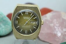 Caravelle Set-O-Matic Dual-Day Gold Tone Sample Wrist Watch For Parts & Repair