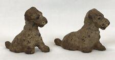 2 Vintage Miniature Cast Iron Fox Terrier Or Schnauzer Dog Figurines Old Paint