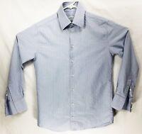 Armani Collezioni Sz M Blue on Blue Striped Men's Dress Shirt, Very Nice