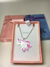 Childrens Girls Pink Unicorn Silver Plated Necklace With Free Gift Box