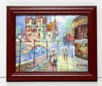 France Cityscape Scene 8 x 10 Art Oil Painting on Canvas w/Custom Wooden Frame