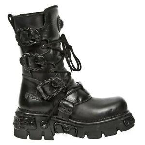 NewRock M.391-S18 Black Boots Metallic Reactor Punk Goth Rock Biker Unisex Boots