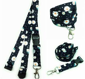 Dasies in black Long Lanyard As Neck Strap Holder for keys, badge, Id card gift