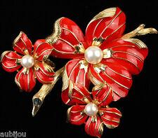 VTG CROWN TRIFARI FLORAL RED ENAMEL DOGWOOD FLOWER BROOCH PIN EARRINGS SET 1960s