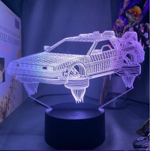 Back to the Future 3D night light LED lamp futuristic car merch Delorean gift